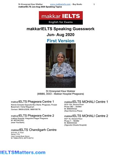دانلود رایگان کتاب Makkar IELTS Speaking Guesswork Jun-Aug 2020