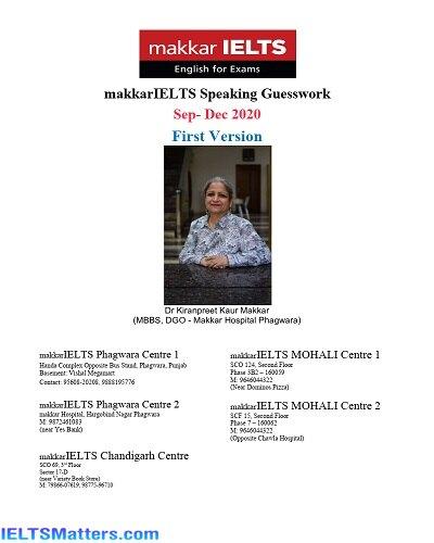 دانلود رایگان کتاب Makkar IELTS Speaking Guesswork Sep-Dec 2020